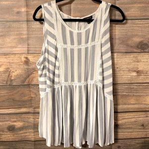 Lane Bryant blue and white striped blouse
